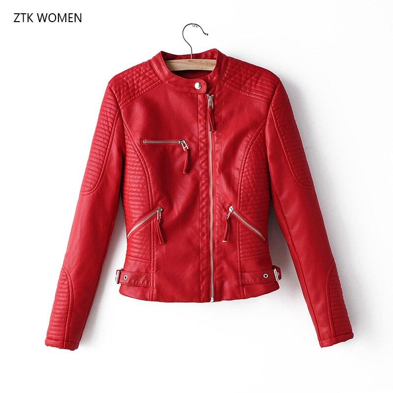 Autumn New Short Faux Soft Leather Jacket Women Fashion Zipper Motorcycle PU Leather Jacket Ladies Basic Street Coat red jacket