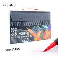 100 cor dupla ponta escova caneta feltro ponta caneta arte marcador fino forro pincel desenho pintura aguarela caneta para colorir manga