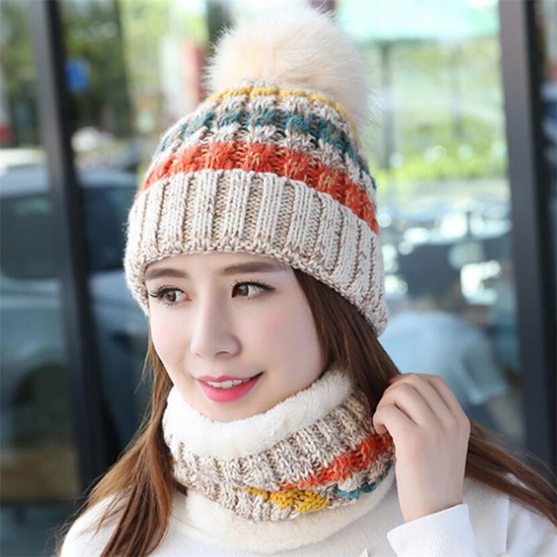 Winter Women Knitted Hat Scarf Set Girls Woman Warm Beanies Plush Hat And Ring Scarf Mix Color Female Lady Pom Pom Cap Scarves