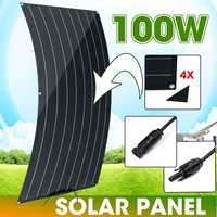 100W Flexible Solar Panel Matte Texture With 4 Protective Corners Cell Module Connector for 12v battery RV Car Yacht Charger