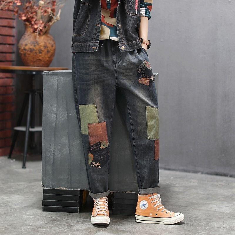 New Arrival Autumn Arts Style Women Elastic Waist Loose Denim Harem Pants Patchwork Casual Vintage Jeans Top Quality S474