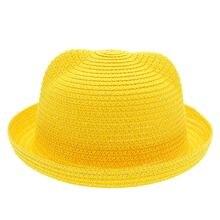 Шляпа от солнца летняя Милая однотонная детская соломенная шляпа