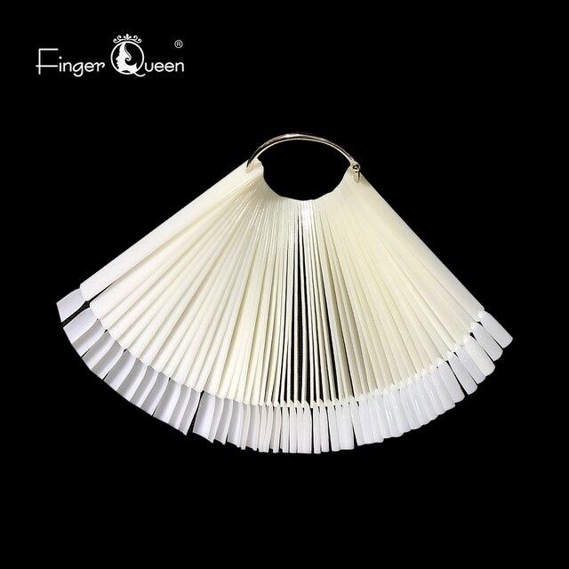 Fake nails 50Pcs Fan-shaped Nail Display Sticks Polish Board Nail Polish Practice  Art Tips with Metal Split Ring Color Card 5