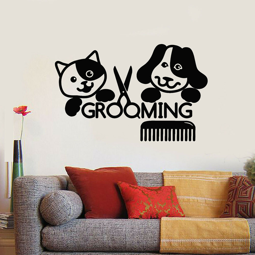Beauty Cat Dog Pets Wall Stickers Vinyl Wall Decal Grooming Salon Groomer Living Room Decor Modern Home Interior Design C857 Leather Bag