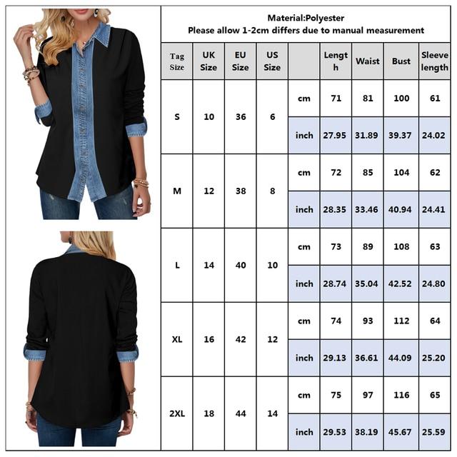 Stitching Denim Shirts Fashion Girls Long Sleeve Turn-down Collar Blouses Woman 2020 Spring New Women Jean Tops Casual Shirt D30 4
