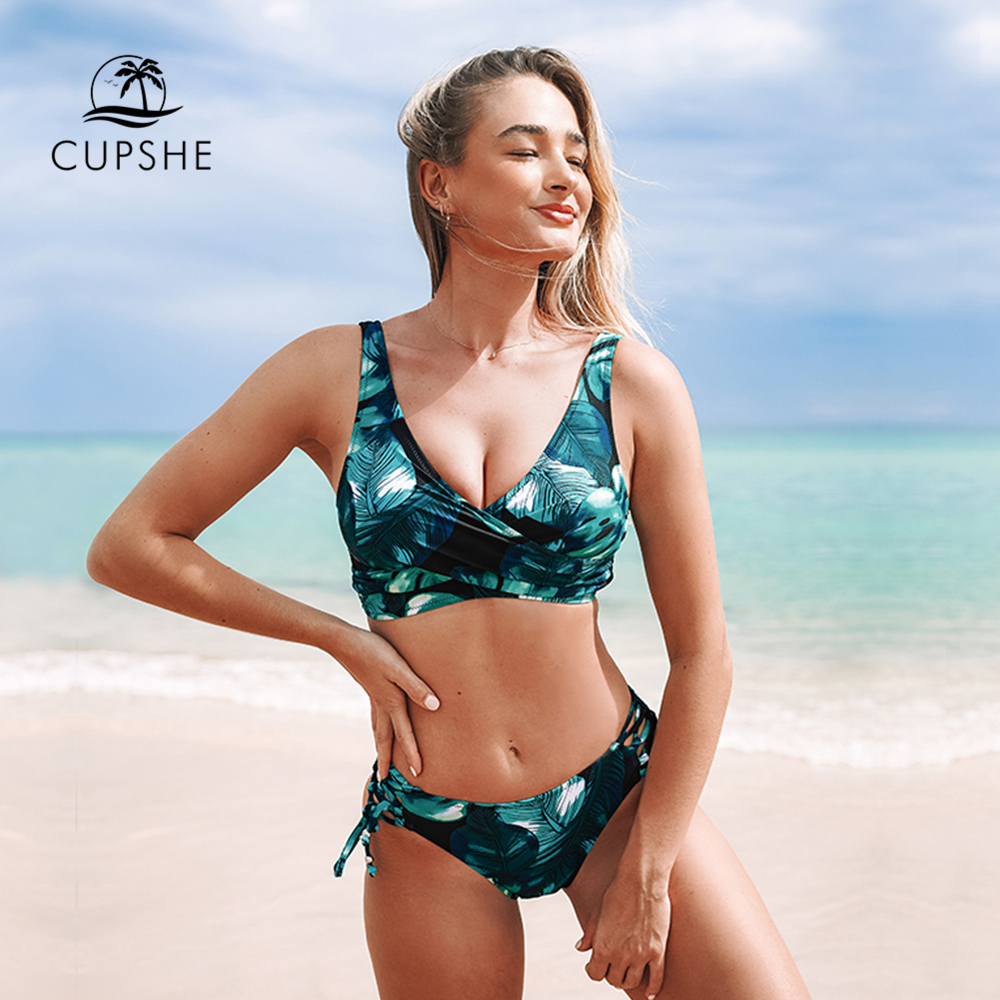 CUPSHE Black And Green Twist Lace-Up Bikini Sets Women Twist Sexy Two Pieces Swimsuits 2020 Girl Beach Bathing Suits