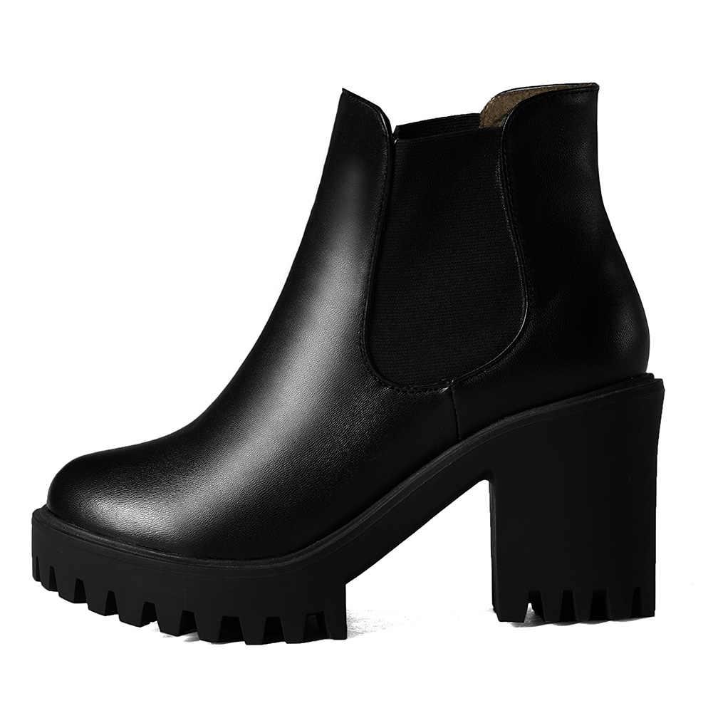 KarinLuna 2019 büyük boy 43 eğlence kare yüksek topuklu çizmeler üzerinde kayma ayak bileği çizmeler kadın ayakkabıları moda ayakkabılar kadın patik kadın