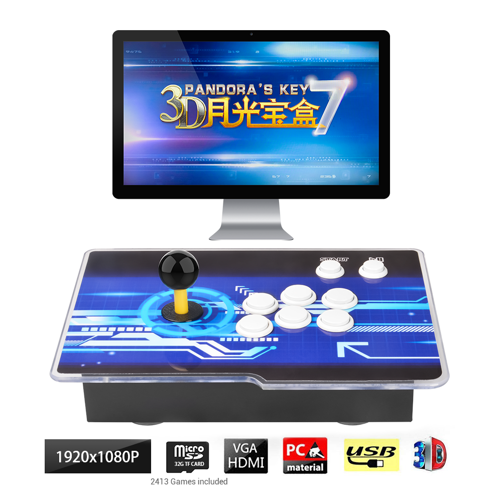 2413 Games 3D 2D Pandora's Box Key 7 Retro Arcade Game Console Cabinet-160 3Dgames Up to 4 Players Game, Connect USB Gamepad image