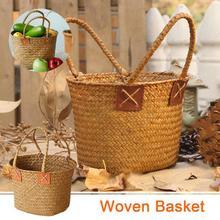 Cesta de mano tejida de algas Vintage decoración del hogar cesta de almacenamiento de flores cesta de almacenamiento de limpieza para mujer cesta de la compra