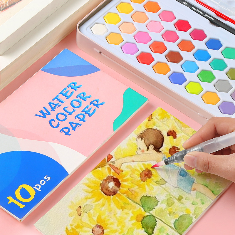 High Quality 36 Colors Solid Watercolor Paint With Wooden Pole Brush Pen Set Water Brush Gouache Pigments School Art Stationery 5