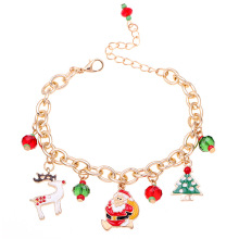 Santa Claus Dangle Bracelet Alloy Chain Dripping Christmas Tree Bracelets New Year Best Celebration Gift Fashion Jewelry Bangle new alloy gorgeous fashion christmas theme snowman cane santa claus color pendant bracelet bracelet christmas best gift jewelry