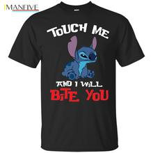 Stitch T-Shirts Touch Me And I Will Bite You Lilo Black Shirt  Cartoon t shirt men Unisex New Fashion tshirt