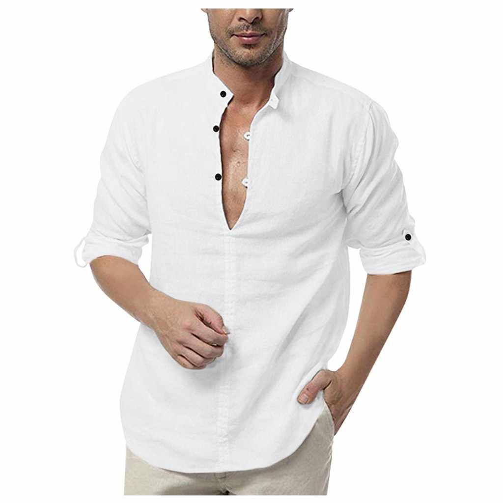 2020 Hot koszula męska Slim V Neck z długim rękawem mięśni koszulka solid koszule na co dzień topy bluzka mężczyźni Fit koszula z guzikami camisa masculina