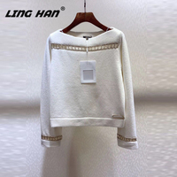 LINGHAN Fashion Slash neck Cashmere pullover Hollow Out Loose High quality knit sweater pullover autumn winter new