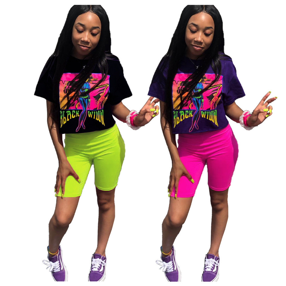 Letter Printed Sexy 2 Piece Outfits For Women Short Sleeve Causal Tshirt And Skinny Leopard Shorts Plus Size Biker Shorts Set