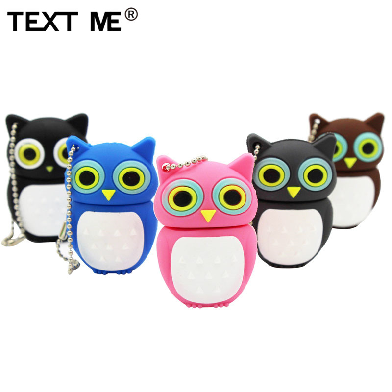 TEXT ME Cartoon Pendrive Black Gary Pink Blue Brown Owl Style Usb Flash Drive Usb 2.0 4GB 8GB 16GB 32GB 64GB Cute Gift