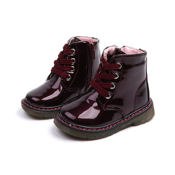 цена 2019 new Girls Boys Patent Leather Shoes Children Waterproof Ankle Boots Kids Boots Snow Warm Winter Boots 1 2 3 4 5 6 Years онлайн в 2017 году