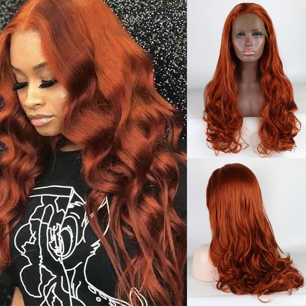 Lace Front Wigs Copper Red Synthetic Orange Body Wave Wigs Natural Hairline Glueless Wigs For Women Synthetic Wig With Baby Hair