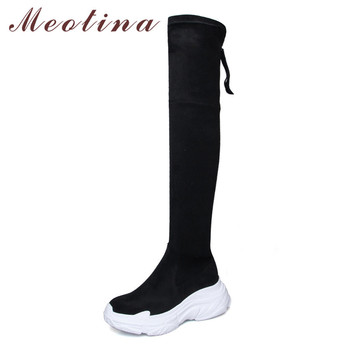 Meotina Autumn Thigh High Boots Women Real Leather Flat Platform Over The Knee Boots Zipper Slim Stretch Shoes Female Size 34-39