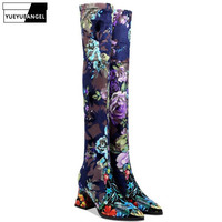 Sexy Women Winter Over The Knee Boots Pointed Toe Block High Heels Slip On Boots Lady Vintage Floral Printed Slim Stretchy Shoes