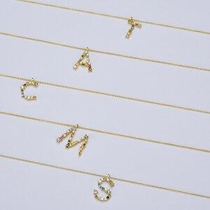 Image 2 - قلادة ANDYWEN عيار 925 من الفضة الإسترلينية والذهبية على شكل حرف M ، قلادة بحروف أبجدية بحروف أبجدية ، مجوهرات إكسسوارات نسائية لعام 2020
