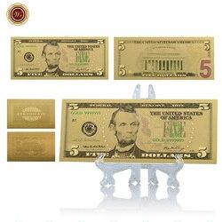 WR поддельные купюры Американский 5 долларов красочная Золотая фольга Банкнота с пластиковой подставкой $ Prop Money Роскошные сувенирные подарк...