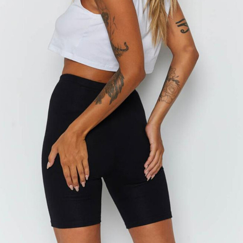 Women Active Summer Cycling Shorts Stretch Basic Short Hot Solid Black Soft Wear Shorts For Women Female Outdoor Exercise Plain