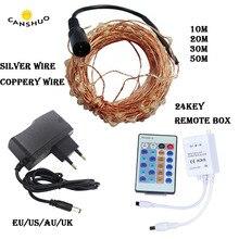 Guirlanda impermeável das luzes da corda de fadas do diodo emissor de luz 10/20/30/50m com controle remoto e adaptador de energia para a decoração exterior do casamento do natal