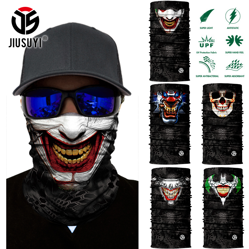 3D Seamless Balaclava Magic Scarf Neck Warmer Face Mask Ghost Skull Clown Joker Bandana Neck Ring Shield Headband Headwear