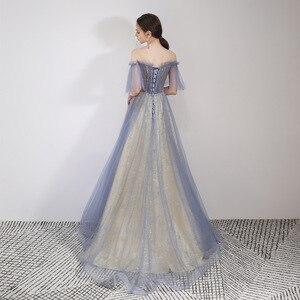 Image 2 - יופי אמילי סקופ שרוולים ערב שמלות 2019 מקסים תחרה למעלה חזור Robe דה Soiree שמפניה ארוך שמלת ערב