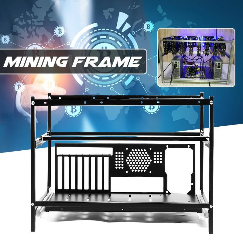 Steel Crypto Coin Open Air Mining Miner Computer Frame Rig Case For 6 GPU ETH Ethereum
