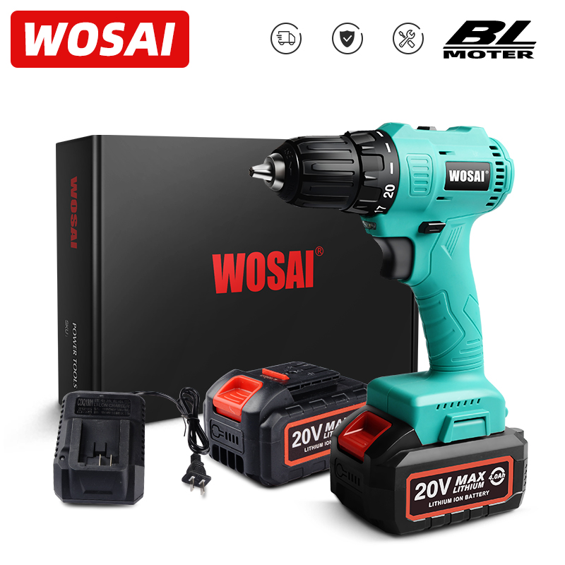 WOSAI 20V DY-SER Brushless Electric Drill 62NM Lithium-Ion Battery Cordless Screwdriver Mini Electric Power Drill Screwdriver