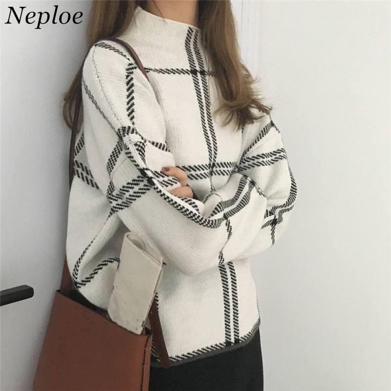 Женский трикотажный свитер Neploe Pull Femme, Толстый Пуловер с вышивкой и рукавами фонариками, зима осень 2020 Водолазки      АлиЭкспресс