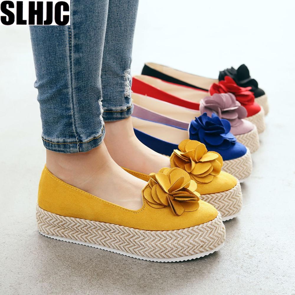 SLHJC Platform Flats Shoes Sweet Camellia Floral Women 2019 Spring Autumn Slip On Cozy Elevator Shoes Plus Size
