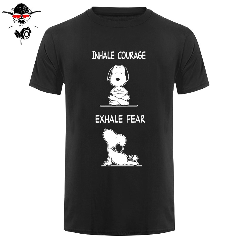 New Peanuts <font><b>Dog</b></font> Charlie Brown Funny Yoga Men's T-shirt Size S-2XL Cartoon t shirt men <font><b>Unisex</b></font> New Fashion <font><b>tshirt</b></font> Loose Size top image