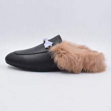 Mule Slippers Loafers Genuine-Cow-Leather Flats Winter Women Backless LOVIRS Hair Cony