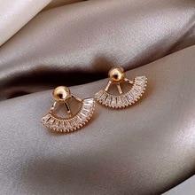2020 New Arrival Trendy Geometric Exaggerated Fan-shaped Zircon Dangle Earrings For Women Fashion Jewelry Gifts