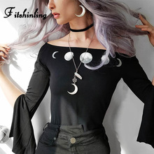 Fitshinling Gothic Bodysuits Autumn Split Long Sleeve Moon Print Body Jumpsuits Black Slim Sexy Off Shoulder Bodysuit Women Sale недорого