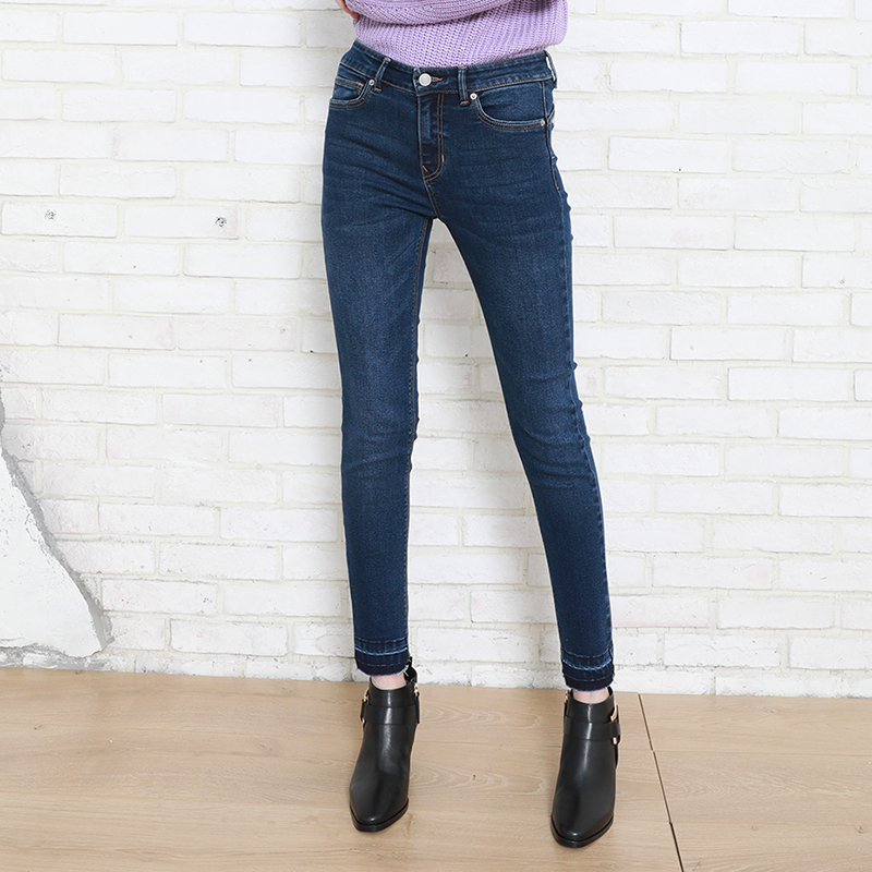 Autumn Winter Leisure Women Denim Push Up Pant Stretch Medium Waist Elastic Lady Jeans
