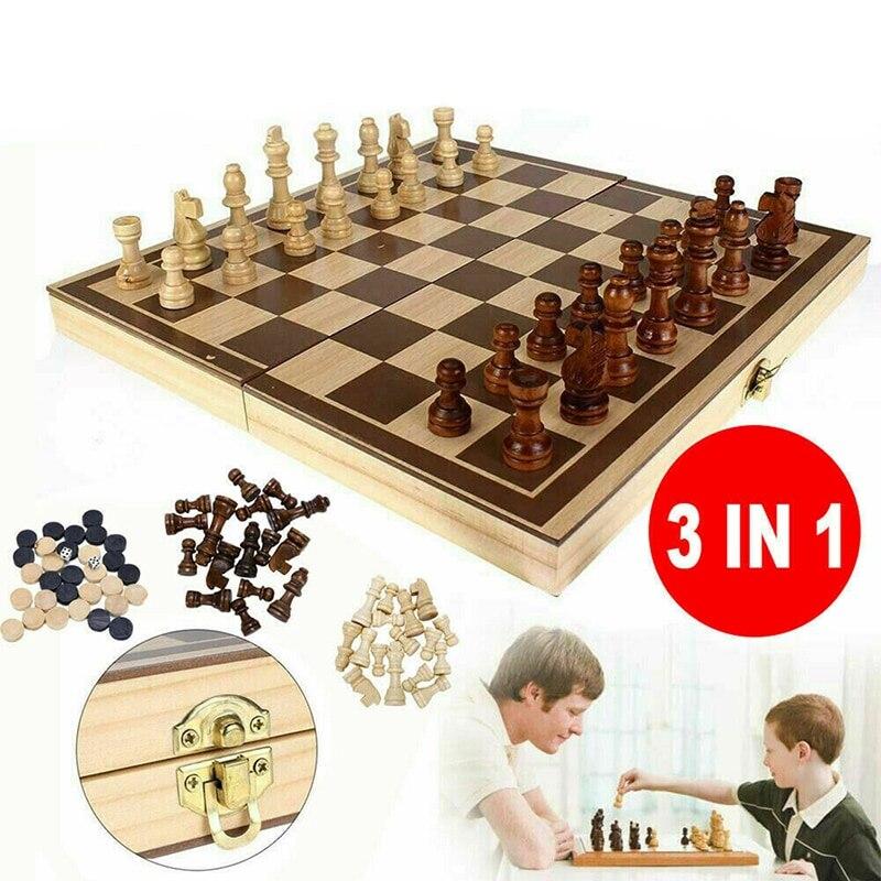 Jeu d'échecs pliant en bois magnétique avec intérieur de plateau de jeu feutré pour le stockage adulte enfants débutant grand échiquier 39cm * 39cm 1 #