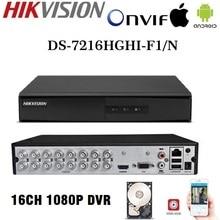 Hikvision английская версия DS-7216HGHI-F1/N 1080P 16CH CCTV XVR для аналоговой/HDTVI/AHD/IP камеры безопасности 1SATA
