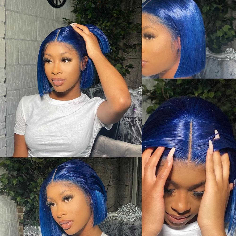 Синий Цветной часть кружево парики из натуральных волос бразильский Волосы Remy 180% прямые короткие Боб Синтетические волосы на кружеве парик...