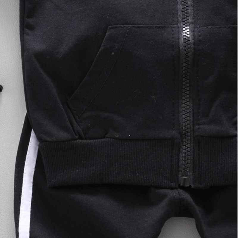 Primavera otoño niños ropa de algodón bebés niños niñas deporte cremallera chaqueta pantalones 2 unids/set niños pequeños moda Casual chándales
