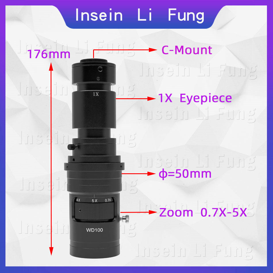 Tools : 200X 500X 1000X Adjustable Magnification 0 7-5X Continuous Zoom C Mount Lens For HDMI VGA USB Industrial Video Microscope Camera