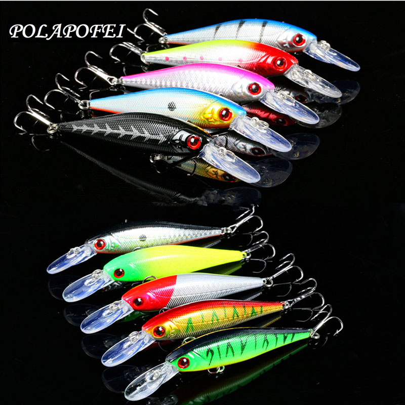 10pcs Wobbler Fishing Lure 10cm 10g Black Minnow Fishing artificial Bait Balancer Fish Hook Crankbait Fishing Accessories D172 title=