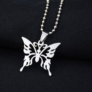 Эксклюзивное колье с бабочками из нержавеющей стали в стиле Харадзюку, изящное ожерелье в панк-стиле