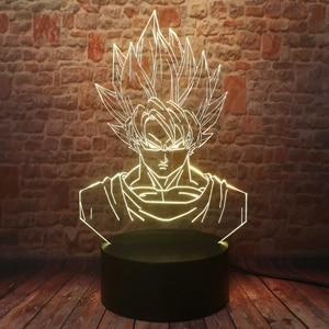Image 2 - Dragon Ball Super Saiyan God Goku Action Figures 3D Illusion Table Lamp 7 Color Changing Night Light for Boys Child Kids Baby