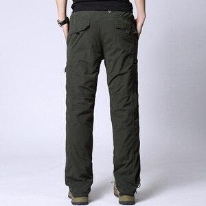 Image 2 - Uomini Cargo Pant Inverno Caldo di Spessore Pantaloni di Lunghezza Completa Multi Tasca Elastico In Vita Pile Foderato Larghi Militare Tattico Pantaloni di Sesso Maschile