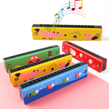 Double Row 16 Hole Harmonica Musical Instruments Children's Wooden Painted Harmonica Creative Early Education Toy New Teaching