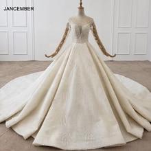 HTL1355 חתונה שמלת 2020 כל עם יוקרה פרח Applique כלה שמלה ארוך שרוול חתונת שמלת תחרה עד בחזרה